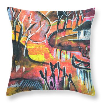 Landscape Seasonal Illustration Throw Pillow