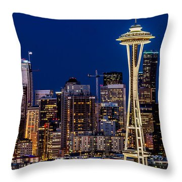 Landscape Space Needle And Skyline At Dusk  Throw Pillow
