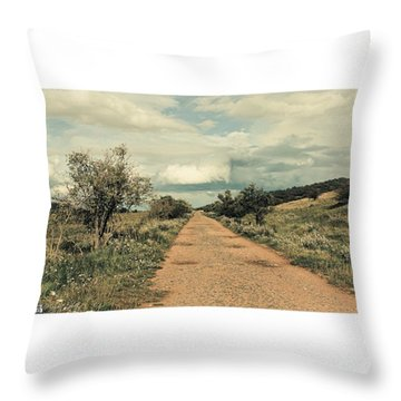 #landscape #stausee #path #road #tree Throw Pillow