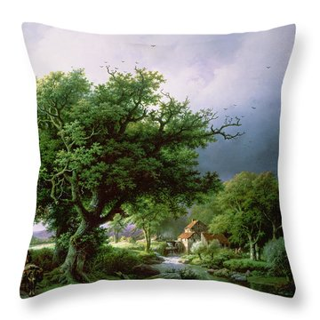 Landscape With A Mill Throw Pillow by Barend Cornelis Koekkoek