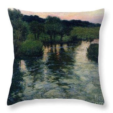 Landscape With A River Throw Pillow by Fritz Thaulow