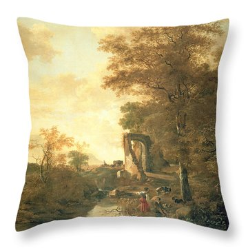 Landscape With Arched Gateway Throw Pillow