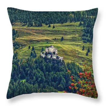 Throw Pillow featuring the photograph Landscape With Castle by Hanny Heim