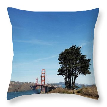 Landscape With Golden Gate Bridge Throw Pillow