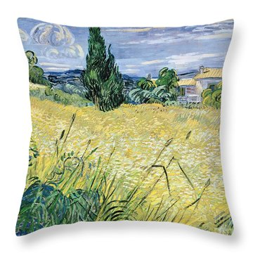 Landscape With Green Corn Throw Pillow by Vincent Van Gogh
