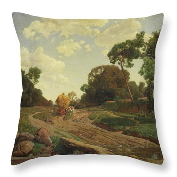 Landscape With Haywagon Throw Pillow by Valentin Ruths