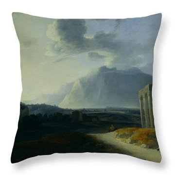 Landscape With Mount Stromboli Throw Pillow by Willem Schellinks