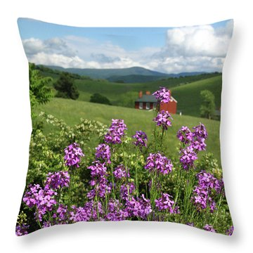 Landscape With Purple Flowers Throw Pillow by Emanuel Tanjala