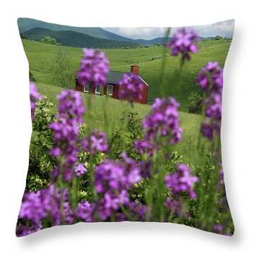 Landscape With Purple Flowers In Virginia Throw Pillow