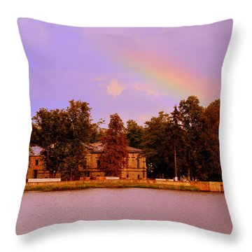 Landscape With Rainbow Throw Pillow