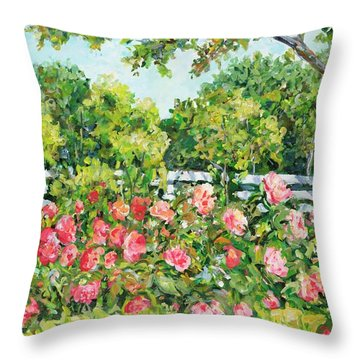 Landscape With Roses Fence Throw Pillow