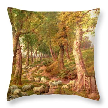 Landscape With Sheep Throw Pillow by Charles Joseph