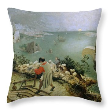 Landscape With The Fall Of Icarus Throw Pillow