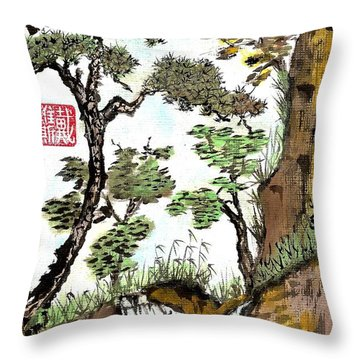 Landscape With Waterfall And Pine Throw Pillow