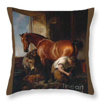 Landseer Shoeing Exhibited Throw Pillow
