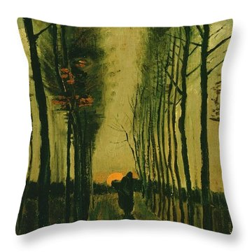 Throw Pillow featuring the painting Lane Of Poplars At Sunset by Van Gogh