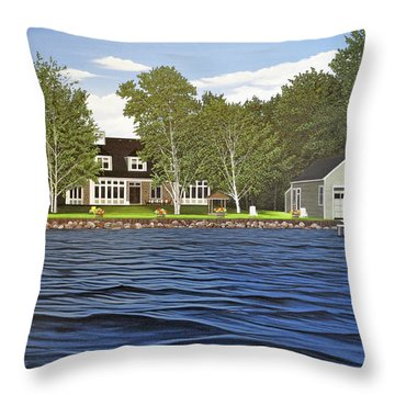 Throw Pillow featuring the painting Langer Summer Home Lake Simcoe by Kenneth M Kirsch