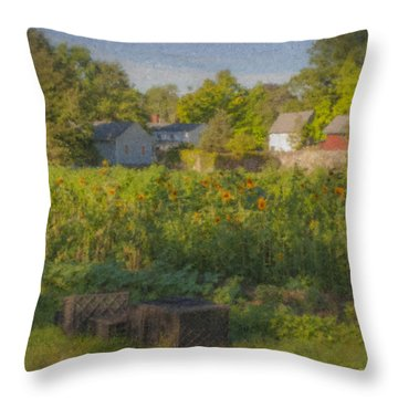 Langwater Farm Sunflowers And Barns Throw Pillow