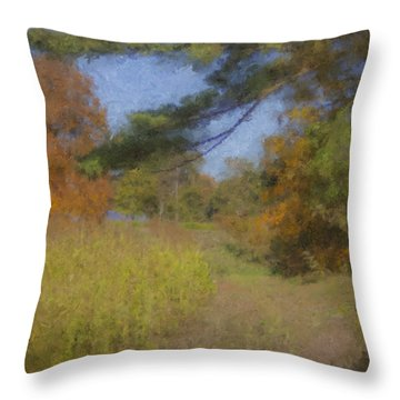 Langwater Farm Tractor Path Throw Pillow