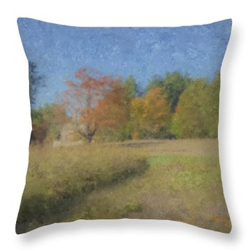 Langwater Farm With Pumpkins And Chateau Throw Pillow