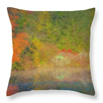 Langwater Pond Boathouse October 2015 Throw Pillow
