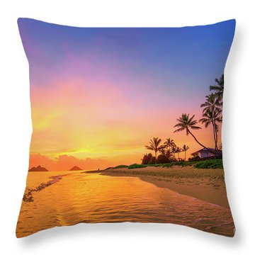 Throw Pillow featuring the photograph Lanikai Beach Canoes At Sunrise by Aloha Art