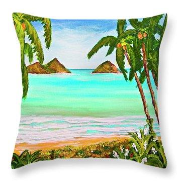 Lanikai Beach Oahu Hawaii #358 Throw Pillow by Donald k Hall
