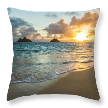 Lanikai Beach Sunrise 2 Throw Pillow by Leigh Anne Meeks