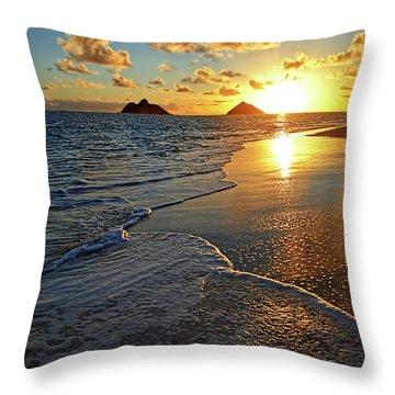 Lanikai Beach Sunrise Foamy Waves Throw Pillow