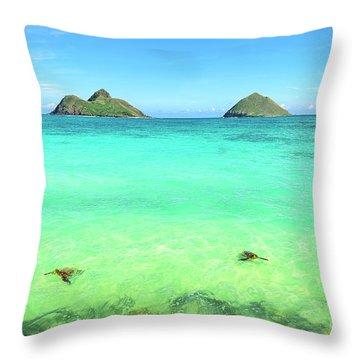 Lanikai Beach Two Sea Turtles And Two Mokes Throw Pillow
