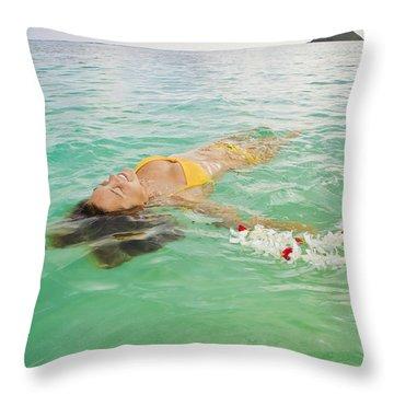 Lanikai Floating Woman Throw Pillow by Tomas del Amo - Printscapes