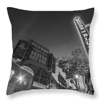 Lansdowne Street Fenway Park House Of Blues Boston Ma Black And White Throw Pillow