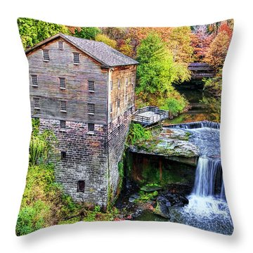 Lanterman's Mill And Bridge Throw Pillow by Marcia Colelli