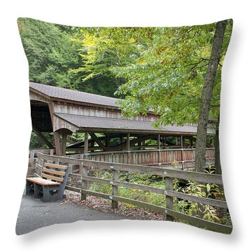 Lanterman's Mill Covered Bridge Throw Pillow