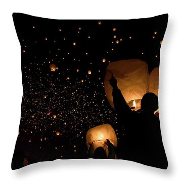Lantern Fest Group Throw Pillow