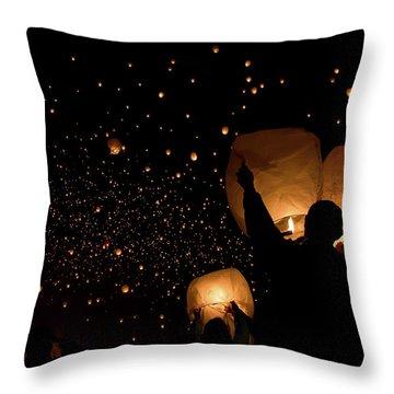 Lantern Fest Group Throw Pillow