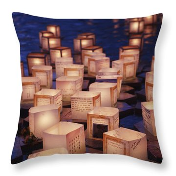 Lantern Floating Ceremony Throw Pillow by Brandon Tabiolo - Printscapes