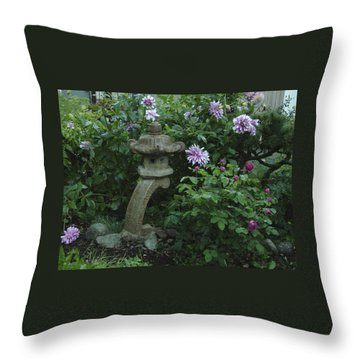 Lantern With Dahlia Throw Pillow