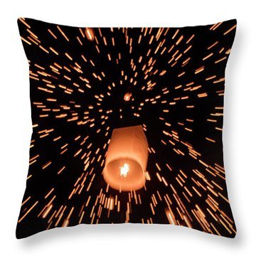 Throw Pillow featuring the photograph Lanterns In The Sky by Pradeep Raja Prints