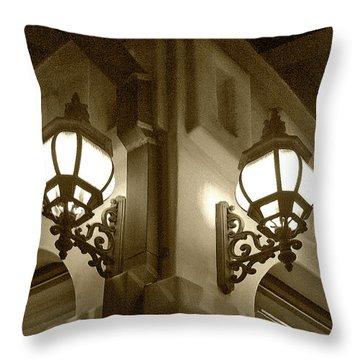 Lanterns - Night In The City - In Sepia Throw Pillow by Ben and Raisa Gertsberg