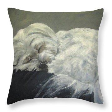 Lap Dog Throw Pillow by Elizabeth Ellis