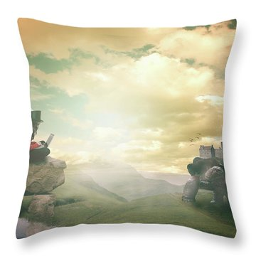 Throw Pillow featuring the digital art Laptop Dreams by Nathan Wright