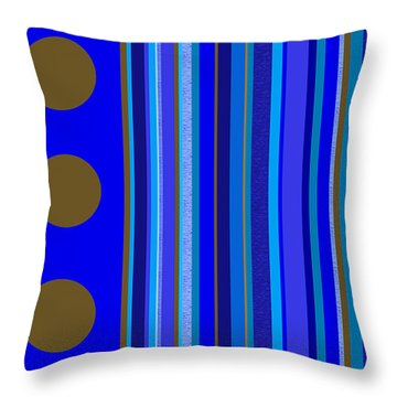 Large Blue Abstract - Panel Three Throw Pillow