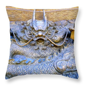 Throw Pillow featuring the photograph Large Bronze Sculpture Of A Dragon by Yali Shi