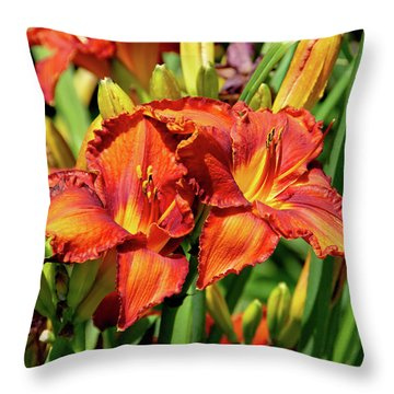 Large Deep Orange Tiger Lilys Throw Pillow
