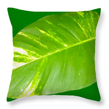 Throw Pillow featuring the digital art Large Leaf Art by Francesca Mackenney