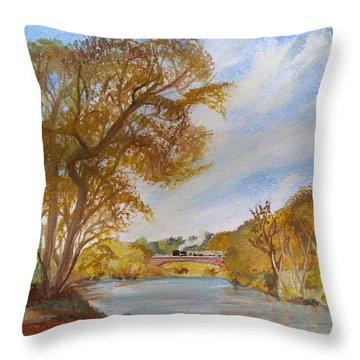 Large Location Little Locomotive Throw Pillow by Carole Robins