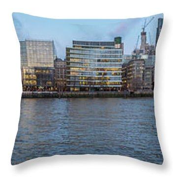 Large Panorama Of Downtown London Betwen The London Bridge And T Throw Pillow