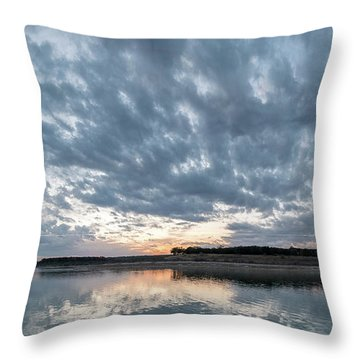 Large Panorama Of Storm Clouds Reflecting On Large Lake At Sunse Throw Pillow