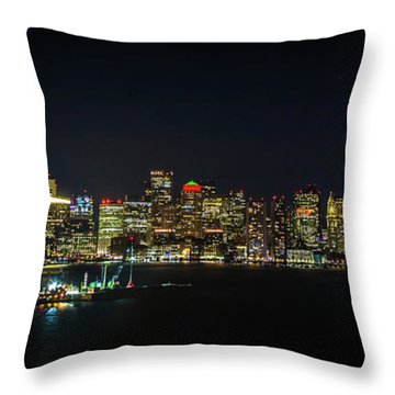 Large Panoramic Of Downtown Boston At Night Throw Pillow